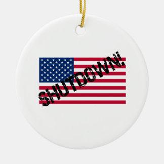 United States Flag Government Shutdown Ceramic Ornament