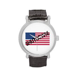 United States Flag Government Shutdown Wristwatches