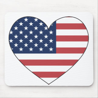 United States Flag Heart Mouse Pad