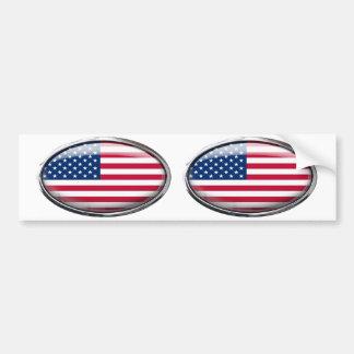 United States Flag in Glass Oval Bumper Sticker