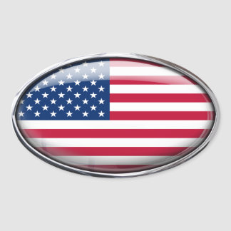 United States Flag in Glass Oval (pack of 4) Oval Sticker