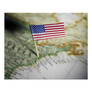 United States flag in map Poster