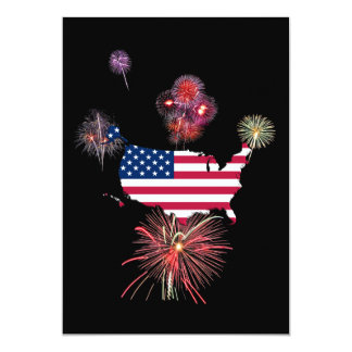 United States Flag-Map and Fireworks 5x7 Paper Invitation Card
