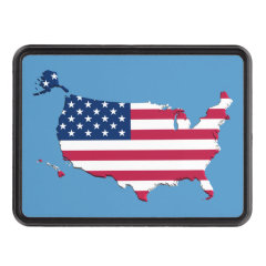 United States Flag Map Trailer Hitch Cover