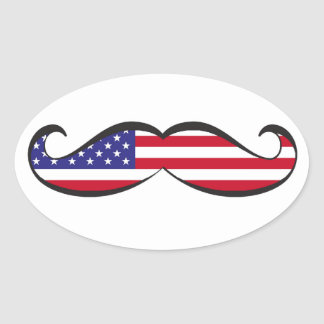 United States Flag Mustache Oval Sticker