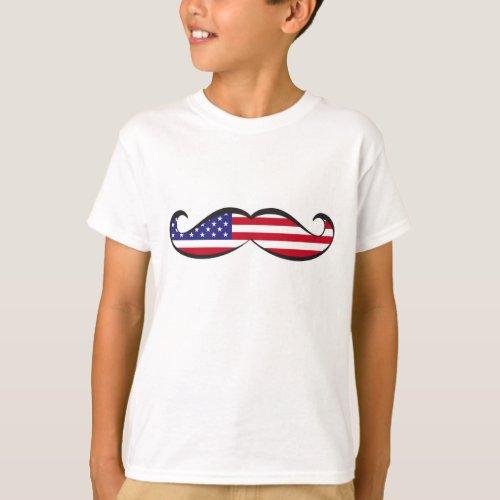 United States Flag Mustache T_Shirt