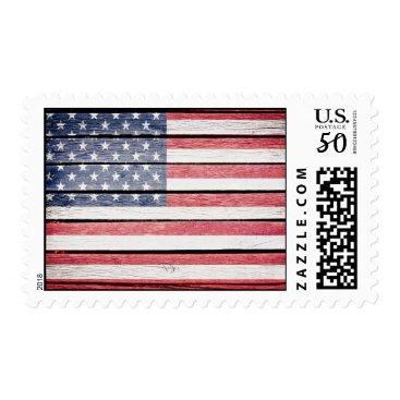 United States Flag on Wood Postage