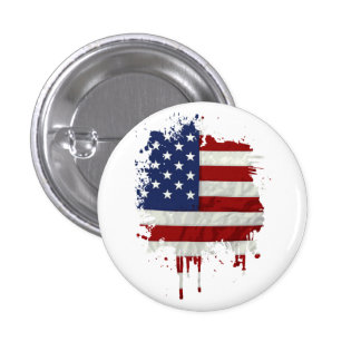 United States Flag Paint Splatter Button