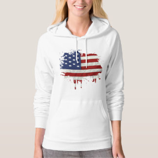 United States Flag Paint Splatter Hoodie