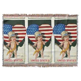 United States Flag Patriotic Throw Blanket