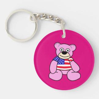 United States Flag - Pink Teddy Bear Double-Sided Round Acrylic Keychain