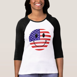 United States Flag Smiley T Shirt