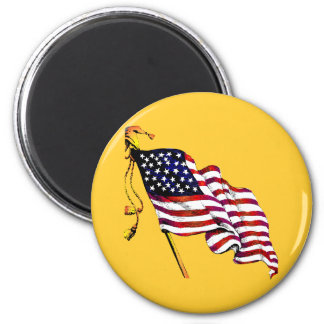 United States Flag Vintage 2 Inch Round Magnet