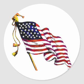 United States Flag Vintage Classic Round Sticker