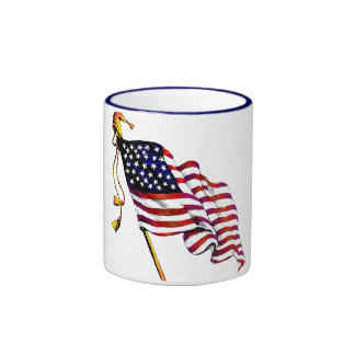United States Flag Vintage Ringer Mug