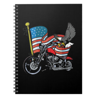 United States Flag With Eagle Motorcycle Notebook Note Books