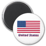 United States Flag with Name 2 Inch Round Magnet