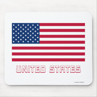 United States Flag with Name Mouse Pad