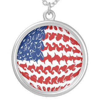 United States Gnarly Flag Silver Plated Necklace