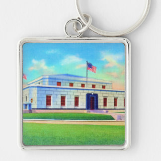 United States Gold Depository, 1938 Post Card Silver-Colored Square Keychain