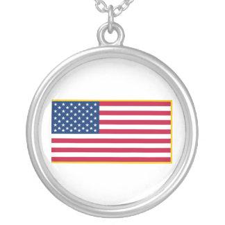 United States Gold Fringed Admiralty Maritime Flag Round Pendant Necklace