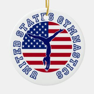 United States Gymnastics Double-Sided Ceramic Round Christmas Ornament