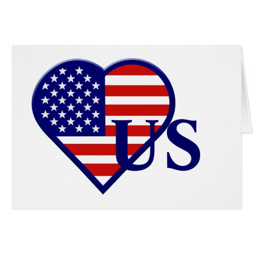 United States Heart  Flag Greeting Card 2