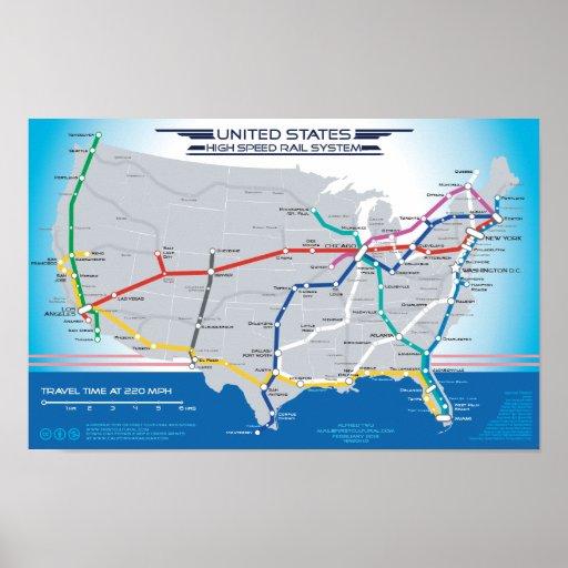 United States High Speed Rail System Map v1.01 Poster