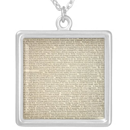 United States History Map 2 Square Pendant Necklace