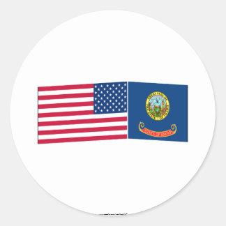 United States & Idaho Flags Round Stickers