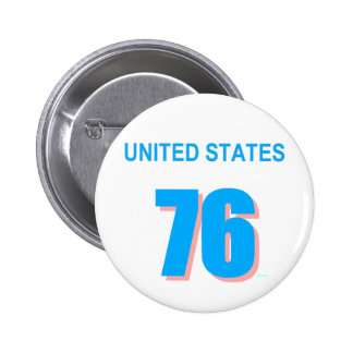 United States in Pink and Blue Pinback Button