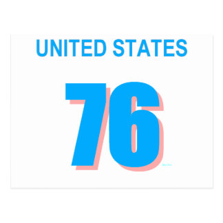 United States in Pink and Blue Postcard