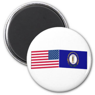 United States & Kentucky Flags 2 Inch Round Magnet