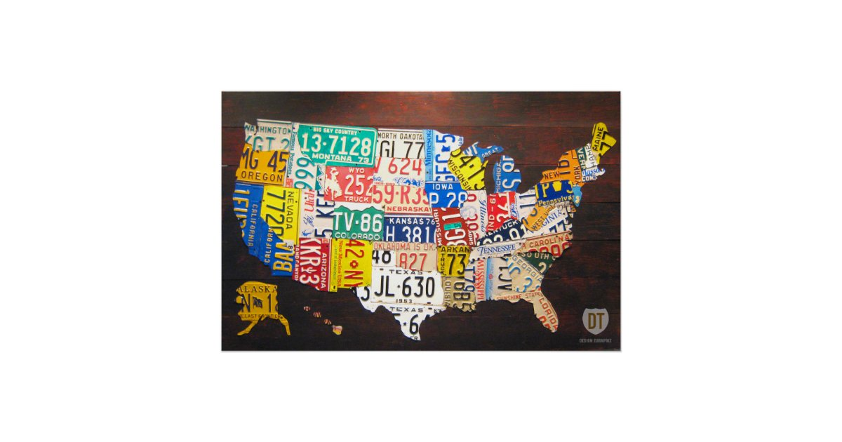 United States License Plate Map Poster Zazzlecom - Us map with license plates