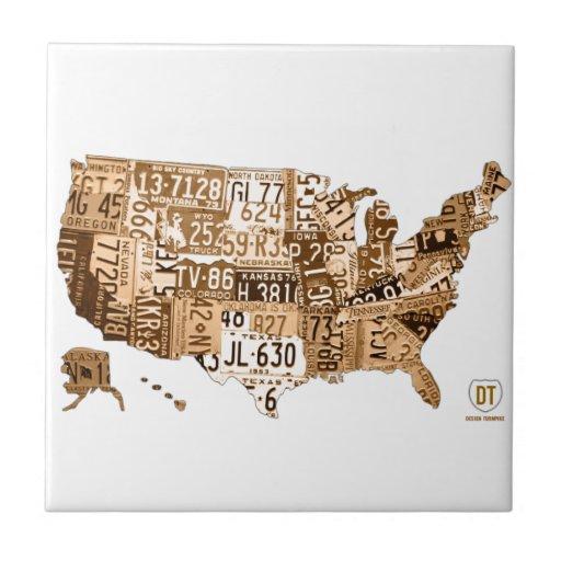 United States License Plate Map Sepia Ceramic Tile