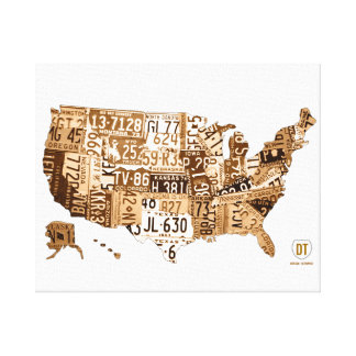 United States License Plate Map Sepia Wrapped Cnvs Canvas Prints