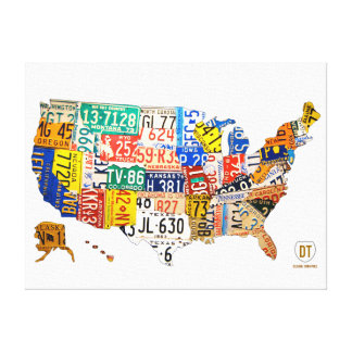 United States License Plate Map Wrapped Canvas Canvas Print