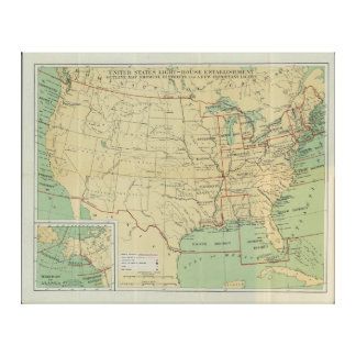 United States Light-House Outline Map 1896 Canvas Print