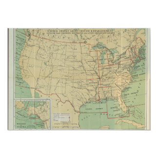United States Light-House Outline Map 1896 Card