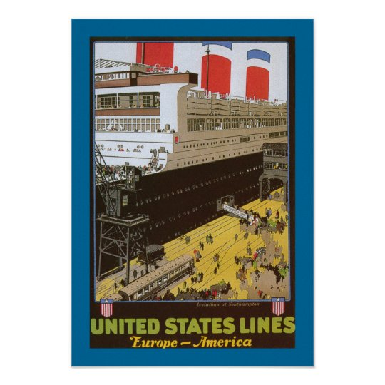 United States Line, Leviathan at Dock Poster