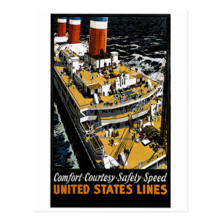 United States Lines Comfort Courtesy Safety Speed Post Card