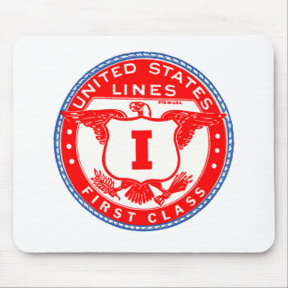 United States Lines First Class Label Mouse Pads