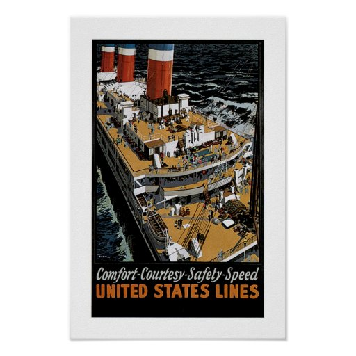 United States Line's Leviathan Aft View Posters