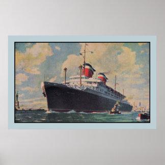 United States Lines SS America aquarelle Print