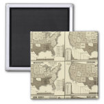 United States lithographed maps 2 2 Inch Square Magnet