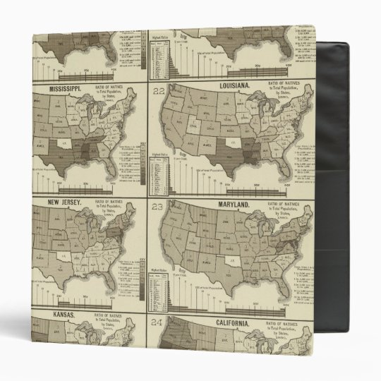 United States lithographed maps 2 3 Ring Binder