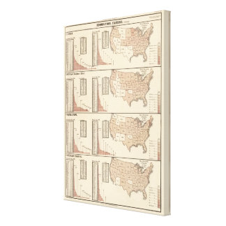 United States lithographed maps 2 Canvas Print