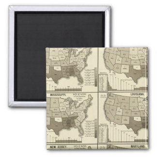 United States lithographed maps 2 Magnets