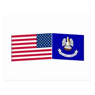 United States & Louisiana Flags Postcard