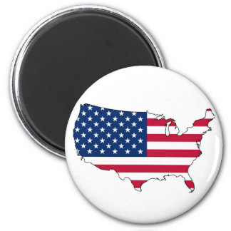 United States Mainland Flag Map Refrigerator Magnets